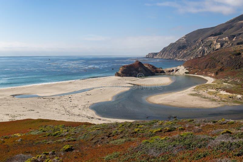Oceano Pacifico e bocca di poco fiume di Sur fotografia stock libera da diritti