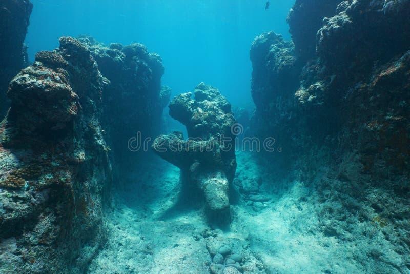 Oceano subaquático natural da formação de rocha imagem de stock royalty free