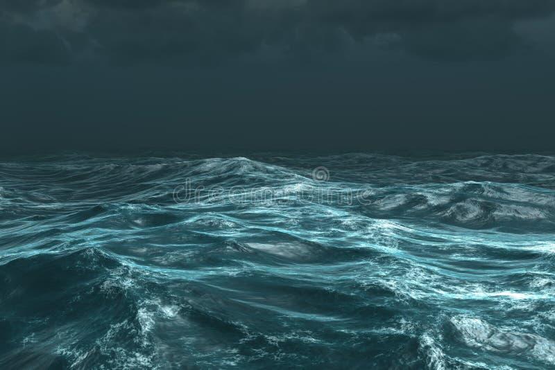 Oceano tempestoso ruvido sotto il cielo scuro royalty illustrazione gratis