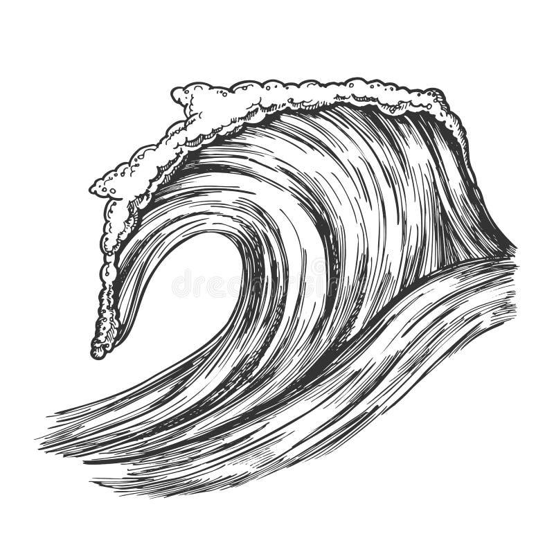 Oceano tropicale precipitante Marine Wave Storm Vector illustrazione di stock