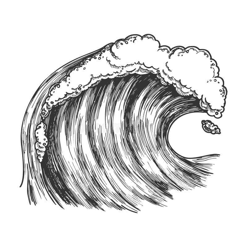 Oceano tropicale spumoso precipitante Marine Wave Vector illustrazione di stock