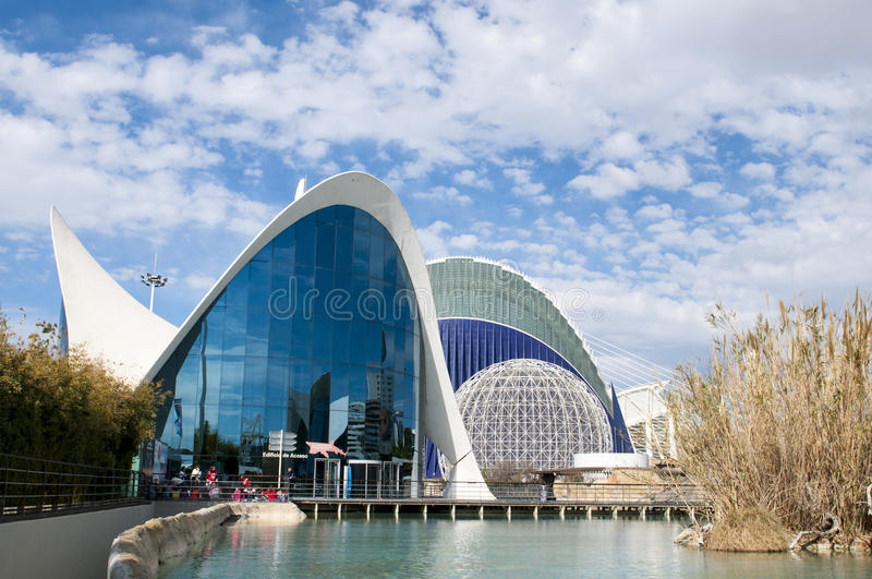 The oceanografic aquarium in the City of Arts and Sciences, Valencia stock image