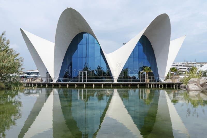 Oceanografic budynek, lokacja wielki akwarium w Europa, w Walencja mieście obrazy royalty free