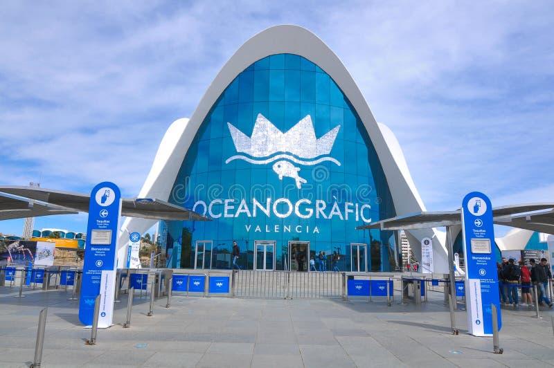 Oceanografic in Valencia, Spain. Valencia, Spain - March 30, 2016: Architectural view of the Oceanografic, the largest oceanographic aquarium in Europe royalty free stock images