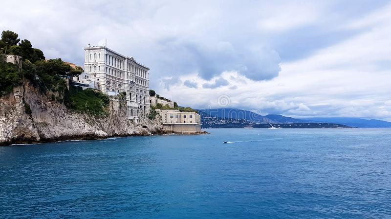 Oceanographic Museum in Monaco placed on cliffside rock, magnificent seascape stock photo