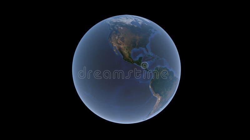 Oceanos pacíficos e atlânticos e norte e Ámérica do Sul na bola da terra, um globo isolado em um fundo preto, rendição 3D, ilustração royalty free
