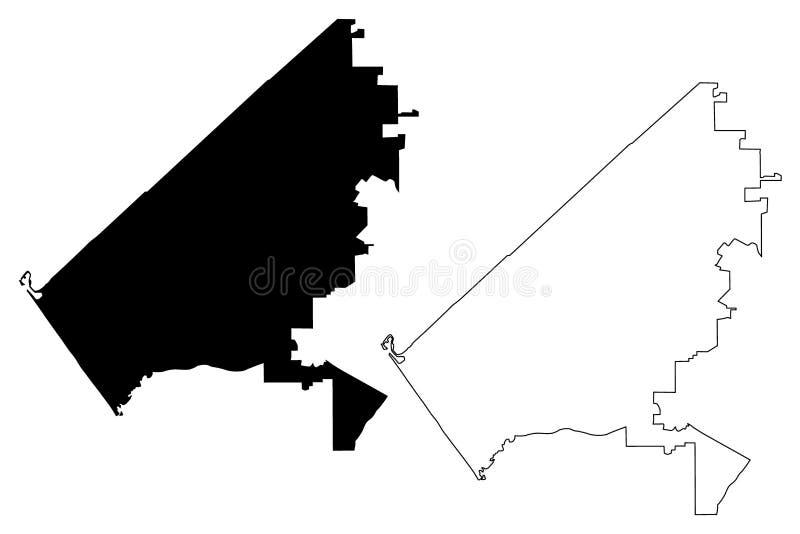 Oceanside City Stany Zjednoczone, Stany Zjednoczone Ameryki, mapa miasta USA wektor ilustracji, szkic bajeczny City of ilustracja wektor