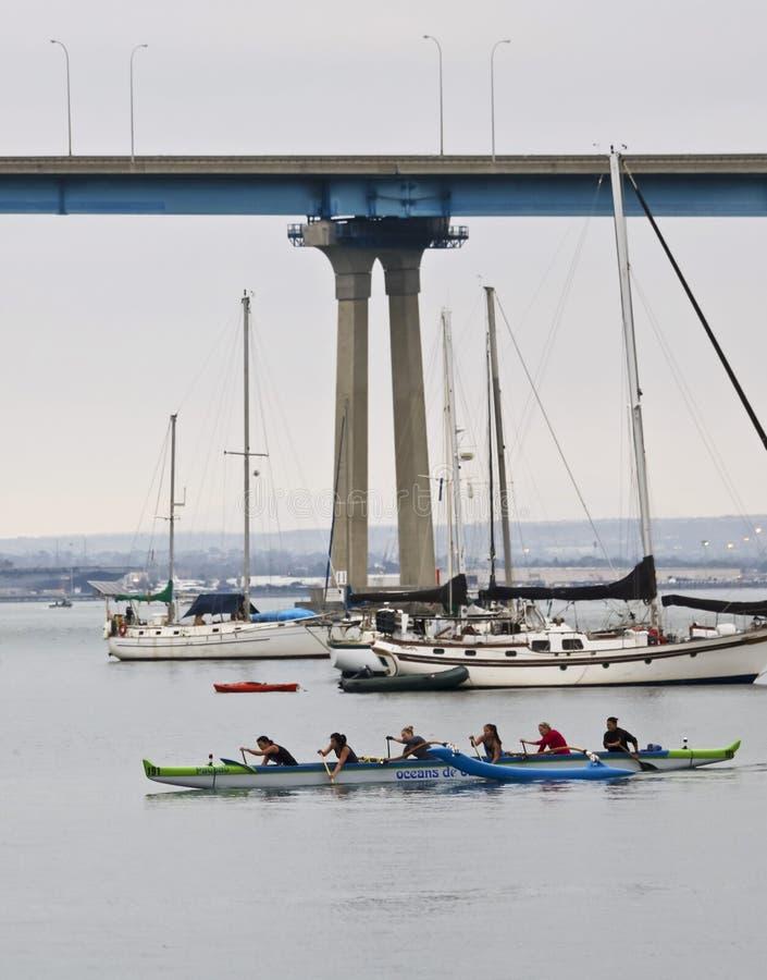 An Oceanside Outrigger Canoe Club Practices Near Coronado Tidelands Park, Coronado Island royalty free stock image