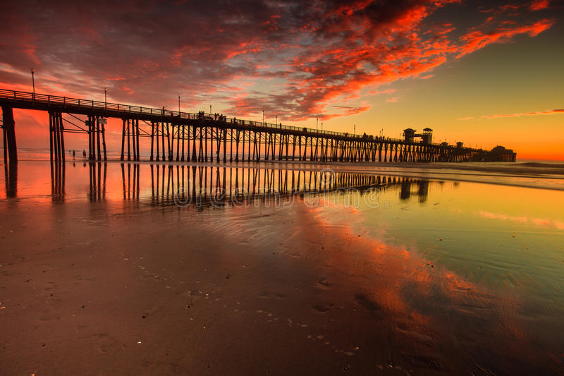 Download Oceanside Pier at Sunset stock image. Image of reflections - 52559777