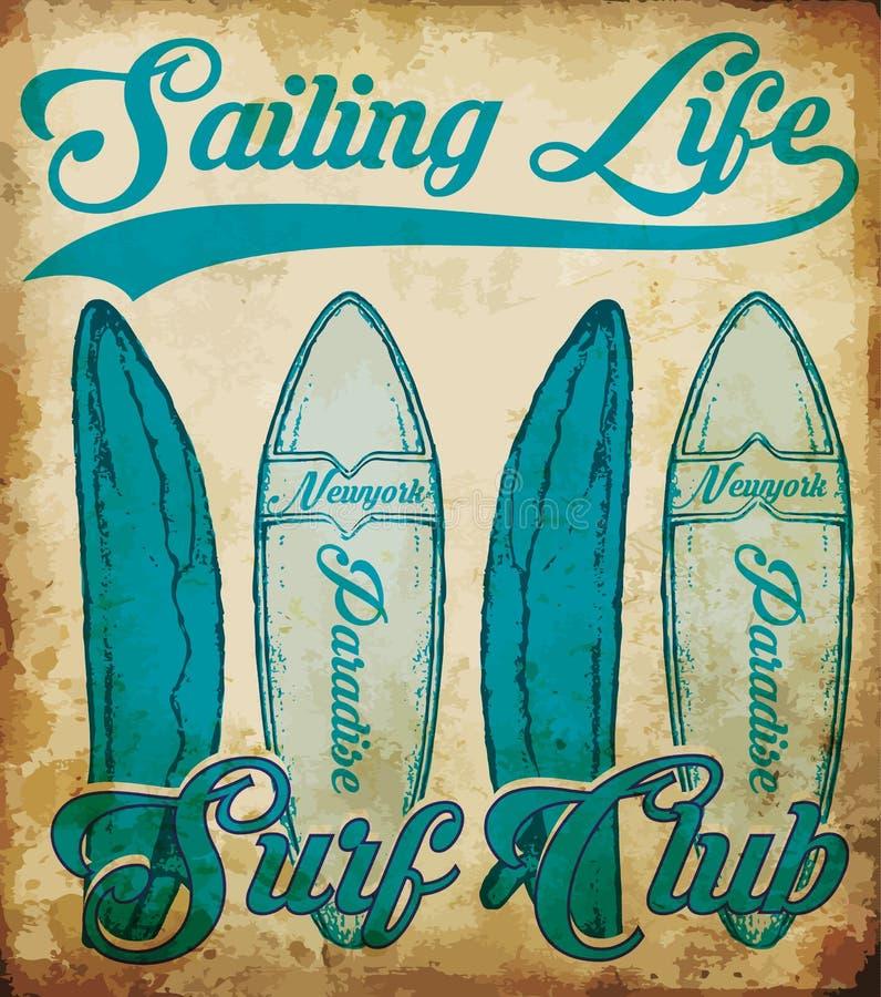 Oceanu żeglowania jachtu klub, grunge wektorowa grafika dla t koszula royalty ilustracja