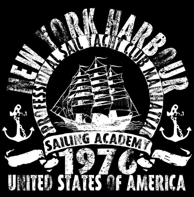 Oceanu żeglowania jachtu klub; grunge wektorowa grafika dla t koszula ilustracja wektor