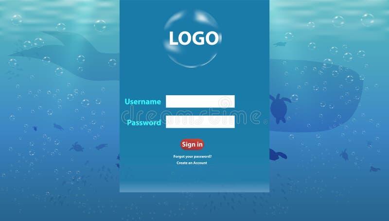 Oceanu życia nazwy użytkownikiej strona internetowa jest pięknym wyczulonym lądowanie strony szablonem ilustracja wektor