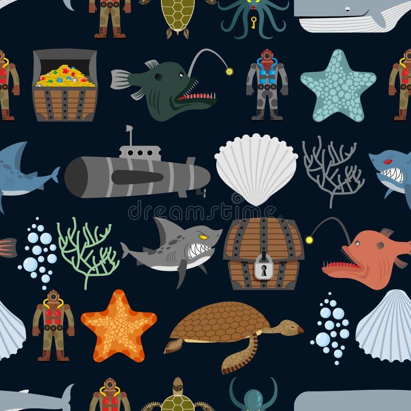 Oceanu bezszwowy wzór Oceanów mieszkanowie Rozgwiazda o i rekin royalty ilustracja