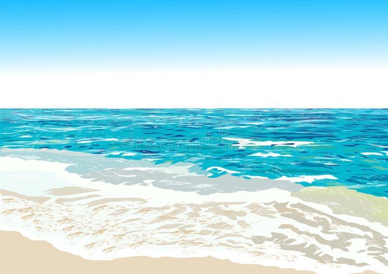 Oceanu brzeg, plaża, wektor ilustracja wektor