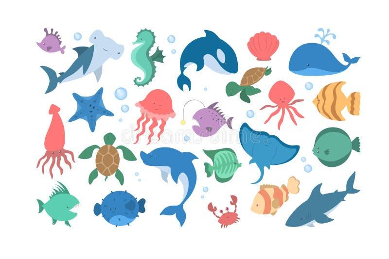 Oceanu i dennego zwierzęcia set Kolekcja nadwodna istota ilustracja wektor