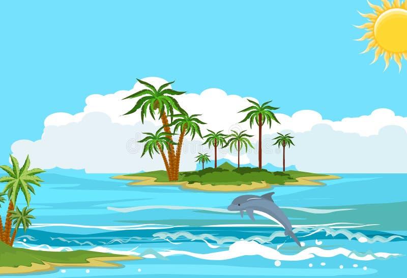 Oceanu krajobraz, delfiny kursuje w falach ilustracji