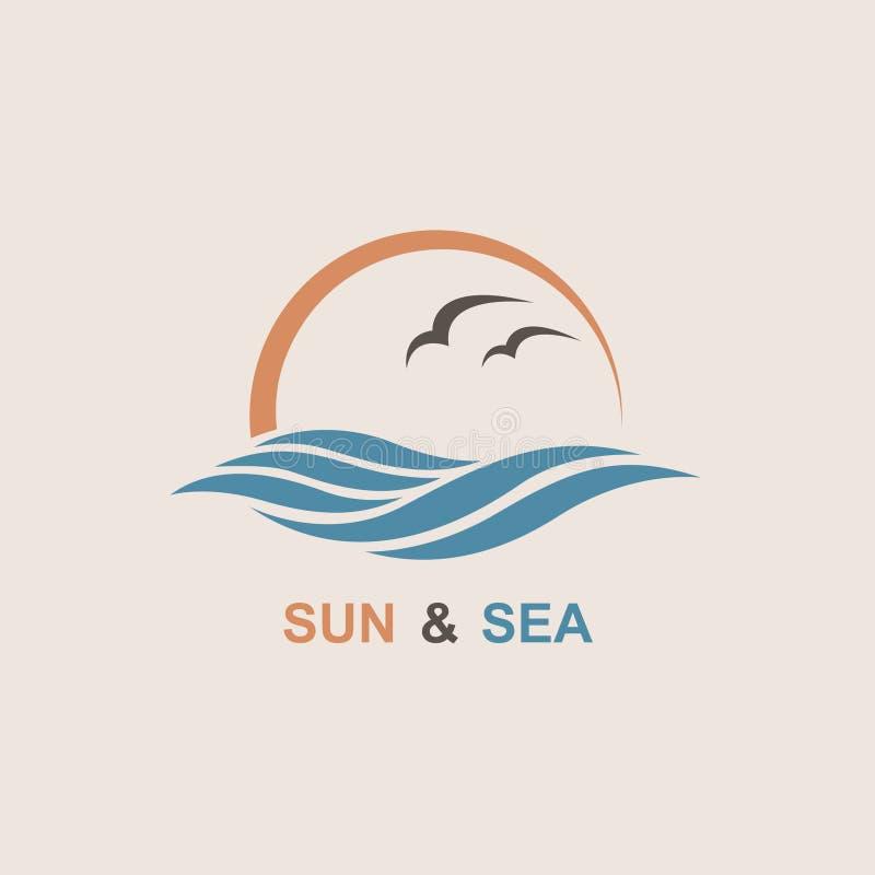 Oceanu loga projekt ilustracja wektor