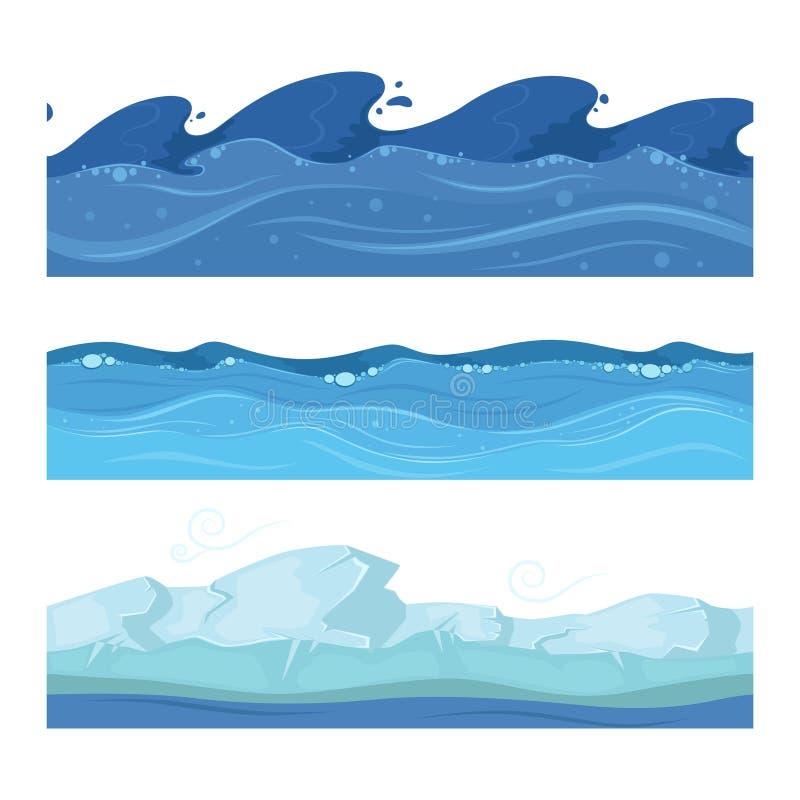 Oceanu lub wody morskiej fala Wektorowy ustawiający horisontal bezszwowi wzory dla ui gier ilustracja wektor