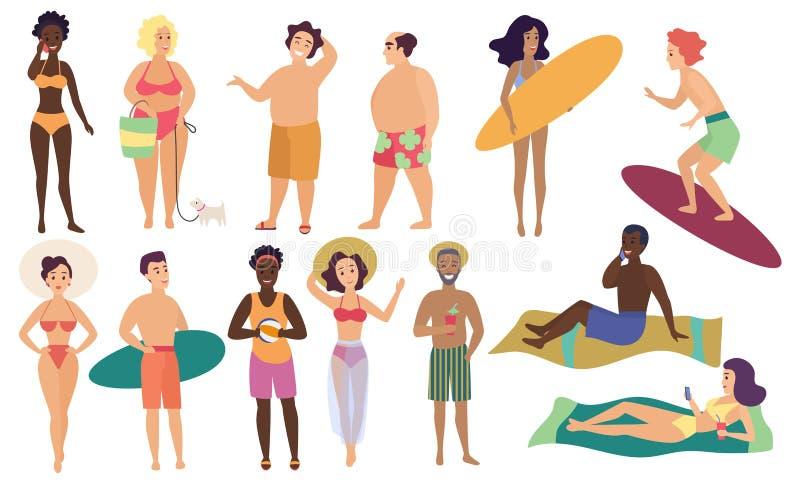 Oceanu morza plaży lata aktywność istot ludzkich ilustraci wektorowego setu śliczni ludzie ilustracja wektor