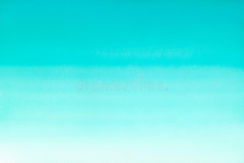 Oceanu morze lub nieba błękita akwareli abstrakta lazurowy turkusowy tło Horyzontalnego watercolour gradientowa pełnia Ręka rysuj royalty ilustracja