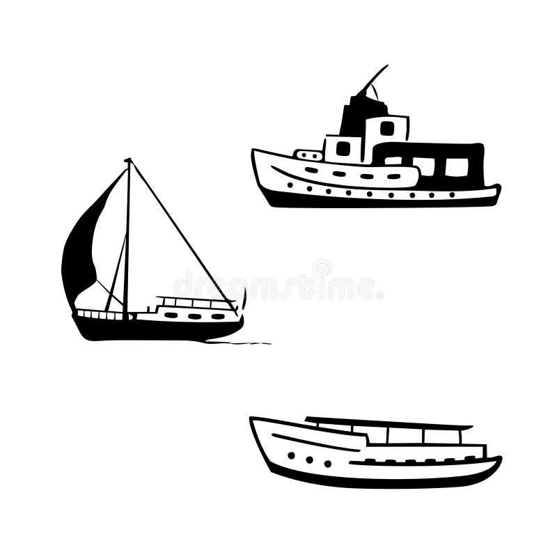 Oceanu transportu set Żeglować i motorowe łodzie, jacht ilustracji