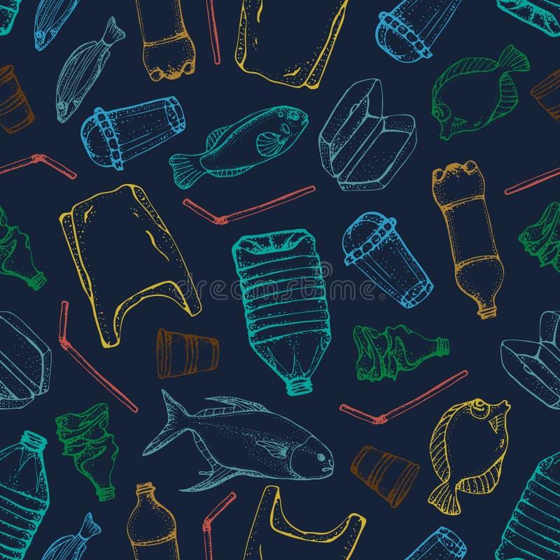 Oceanu zanieczyszczenia bezszwowy wzór Wektorowa ilustracyjna ręka rysujący doodle symbole inkasowi Torba, butelka, pakunek royalty ilustracja