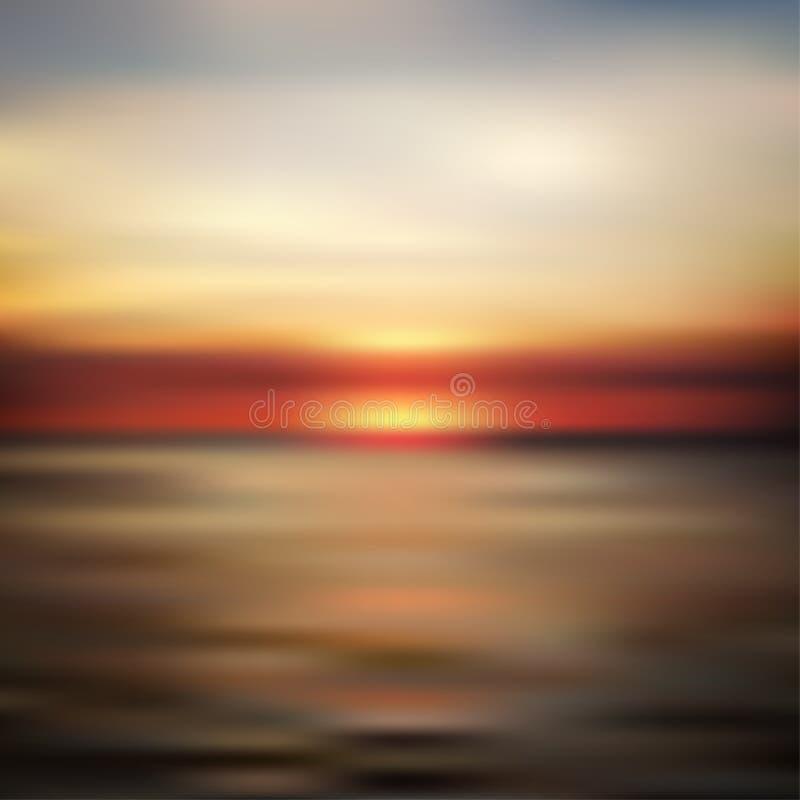 Oceanu zmierzch zamazujący krajobraz ilustracji