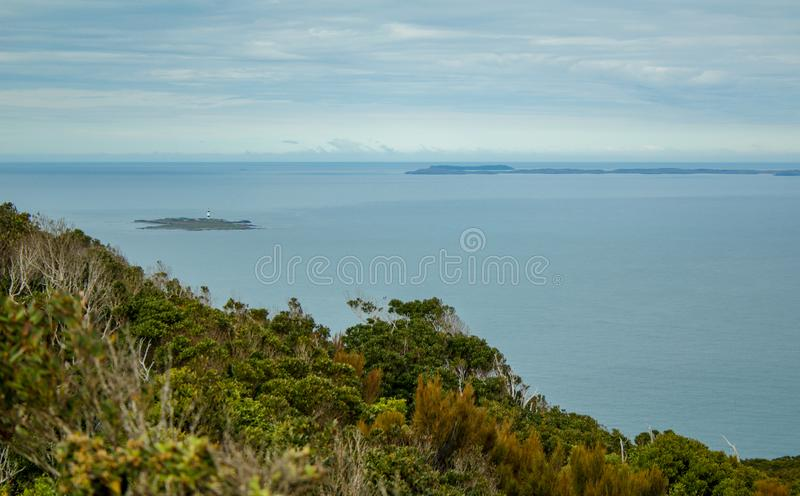 Oceanview from Bluff Hill Lookout, Southernmost point in New Zealand.  stock images