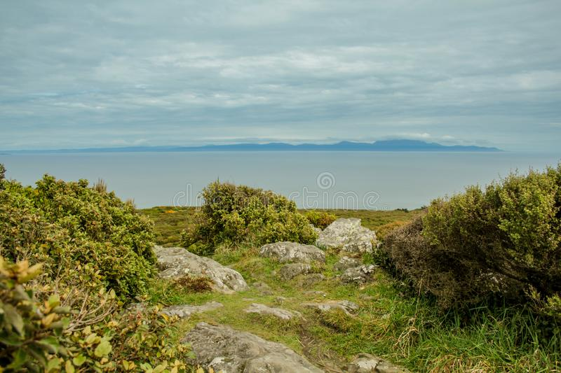 Oceanview from Bluff Hill Lookout, Southernmost point in New Zealand.  royalty free stock images