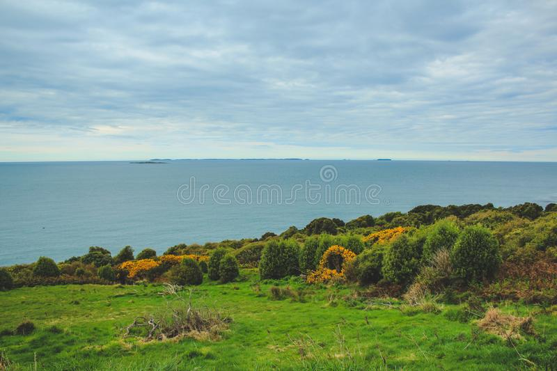 Oceanview from Bluff Hill, Southernmost point in New Zealand.  stock images