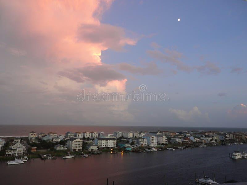 Oceanviewzonsondergang royalty-vrije stock afbeelding