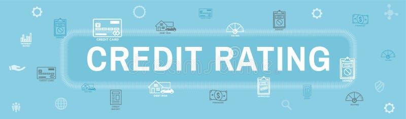Ocena Zdolności Kredytowych chodnikowa sieci sztandar z długiem, Kredytową kartą & kredytem, ilustracji
