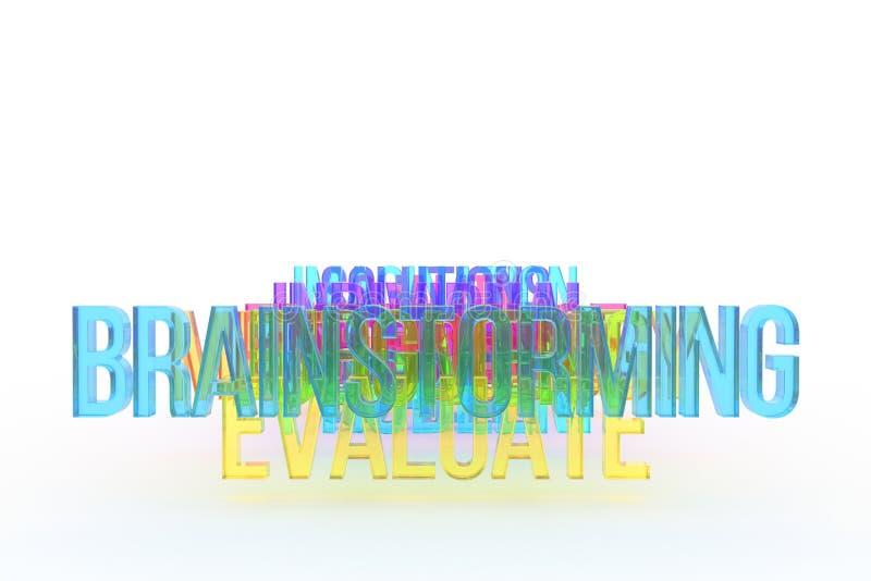 Ocenia & brainstorming, biznesowi konceptualni kolorowi 3D słowa Styl, sieć & abecadło, cyfrowy, ilustracji