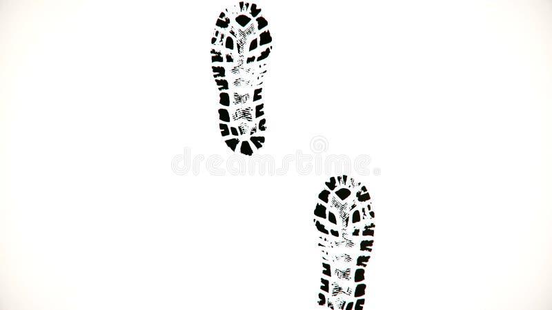 But oceny na białym tle Abstrakcjonistyczna animacja odprowadzenie przed czarnymi butów drukami na białym tle royalty ilustracja