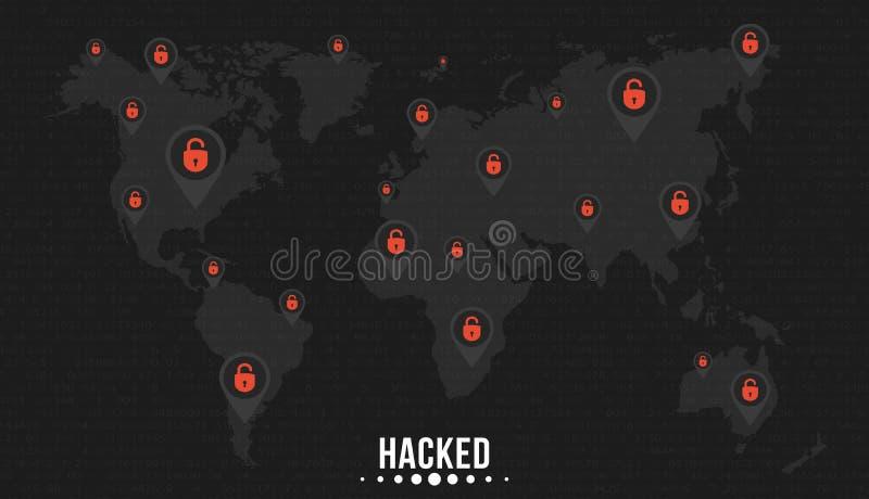 Oceny z krakingowymi czerwonymi kędziorkami na światowej mapie planety ziemia Cybercriminals siekał sieć Miękcy czarni tło wi ilustracja wektor