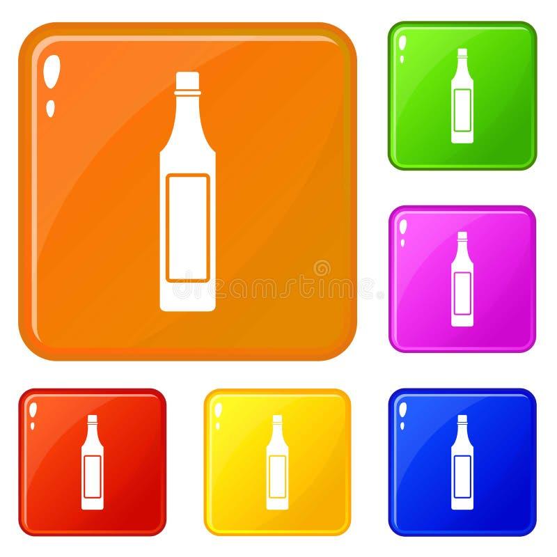 Ocet butelki ikona ustawiaj?cy wektorowy kolor ilustracja wektor