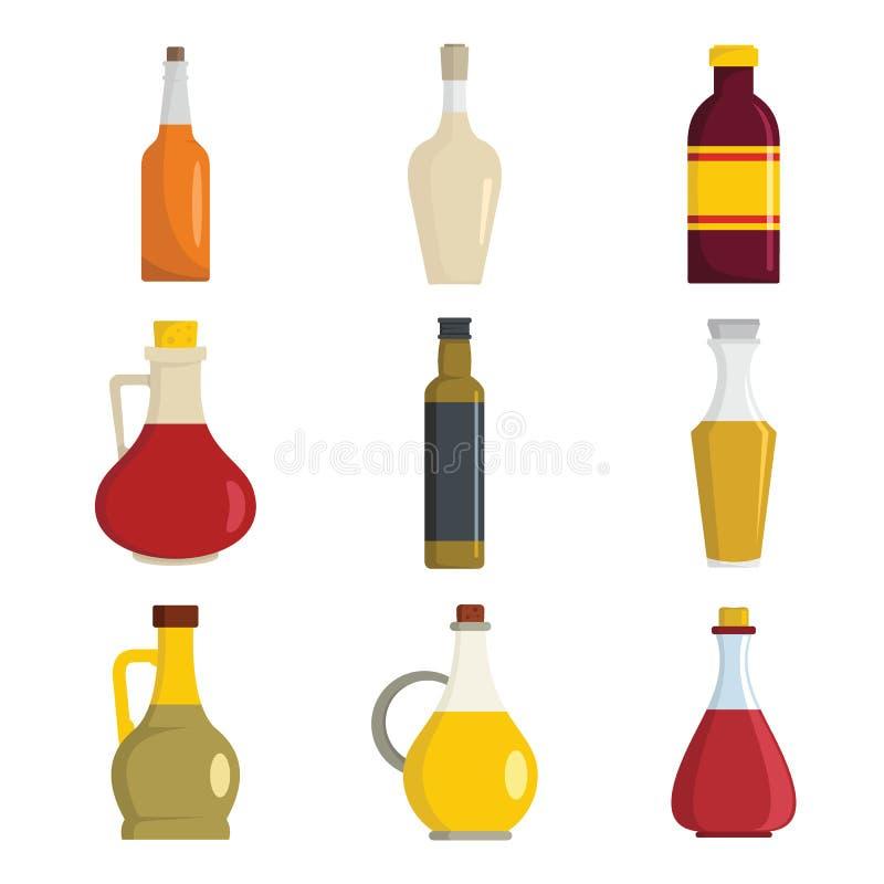 Ocet butelki ikony ustawiać, mieszkanie styl ilustracji