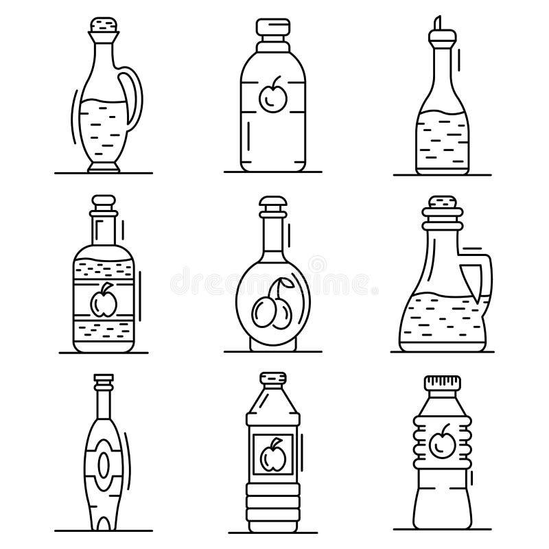 Ocet ikony set, konturu styl royalty ilustracja