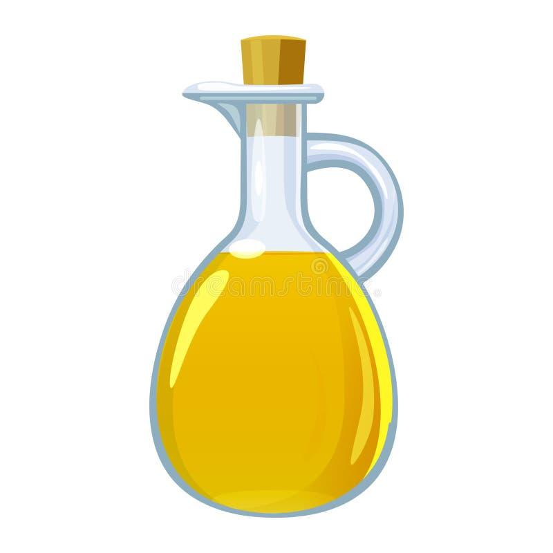 Ocet w szklanej butelce Wektorowej ilustracyjnej kresk?wki p?aska ikona odizolowywaj?ca na bielu royalty ilustracja