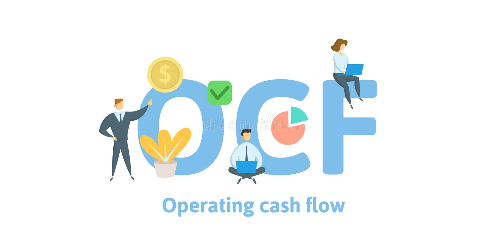 OCF, Operating Cash Flow. Concept with keywords, letters and icons. Flat vector illustration. Isolated on white. OCF, Operating Cash Flow. Concept with keywords stock illustration