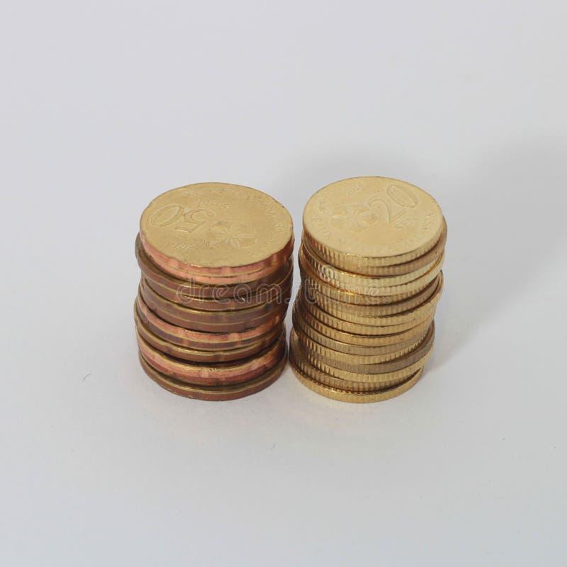 20 och 50 cent av Malaysia mynt royaltyfri fotografi