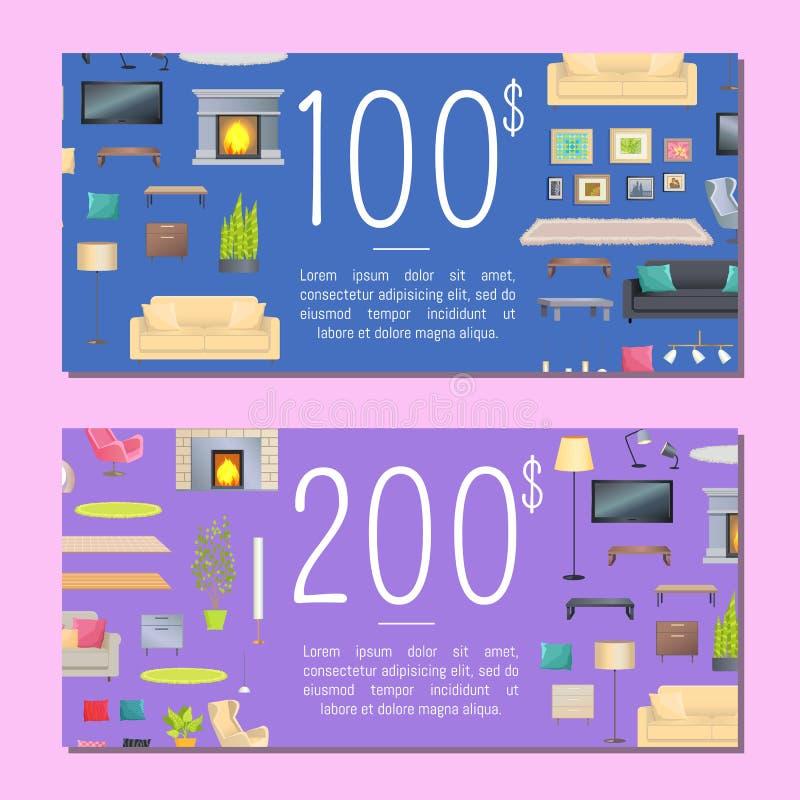 100 och 200 dollar illustration för kuponguppsättningvektor stock illustrationer