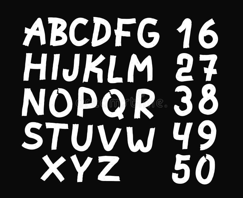 Och dragen bokstäver och nummerstilsort fetare stock illustrationer