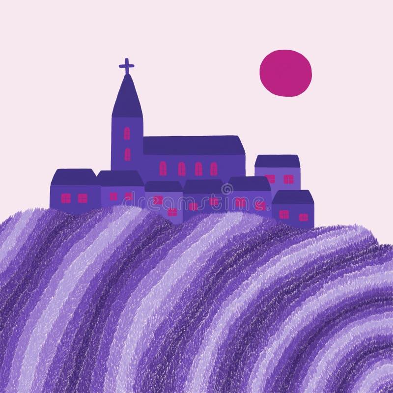 By- och lavendelfält vektor illustrationer