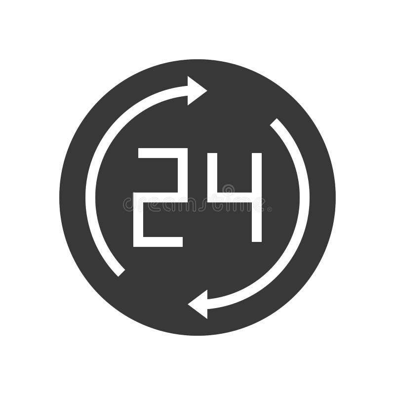 24 och pil, perfekt PIXEL för affärsarbetstidsymbol stock illustrationer