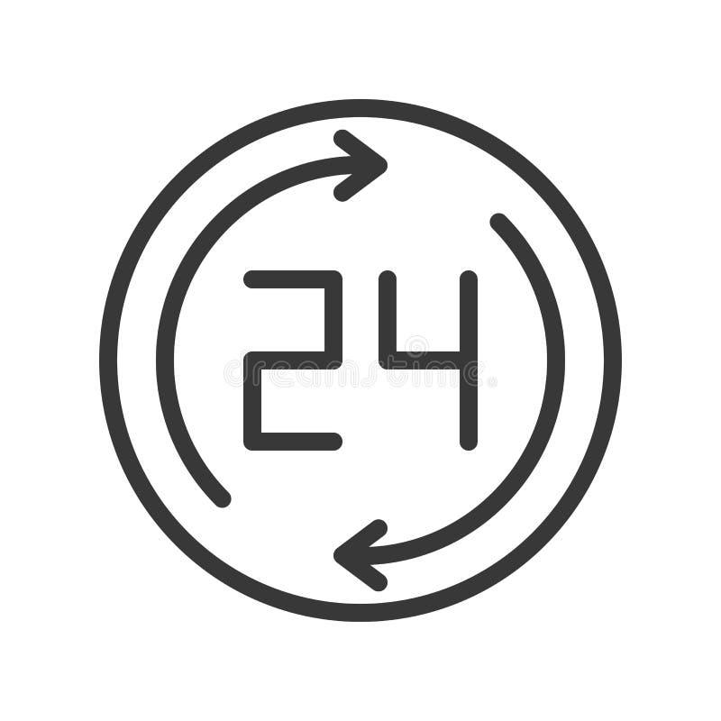 24 och pil, redigerbart för PIXEL för affärsarbetstidsymbol perfekt stock illustrationer