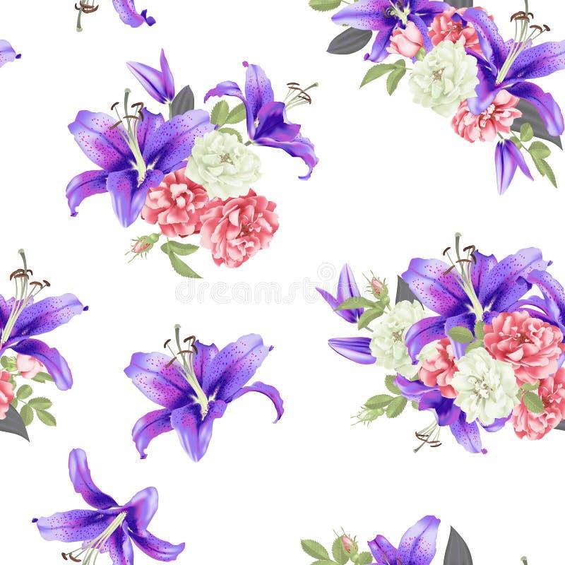Och steg den sömlösa modellvektorn för den violetta liljan stock illustrationer