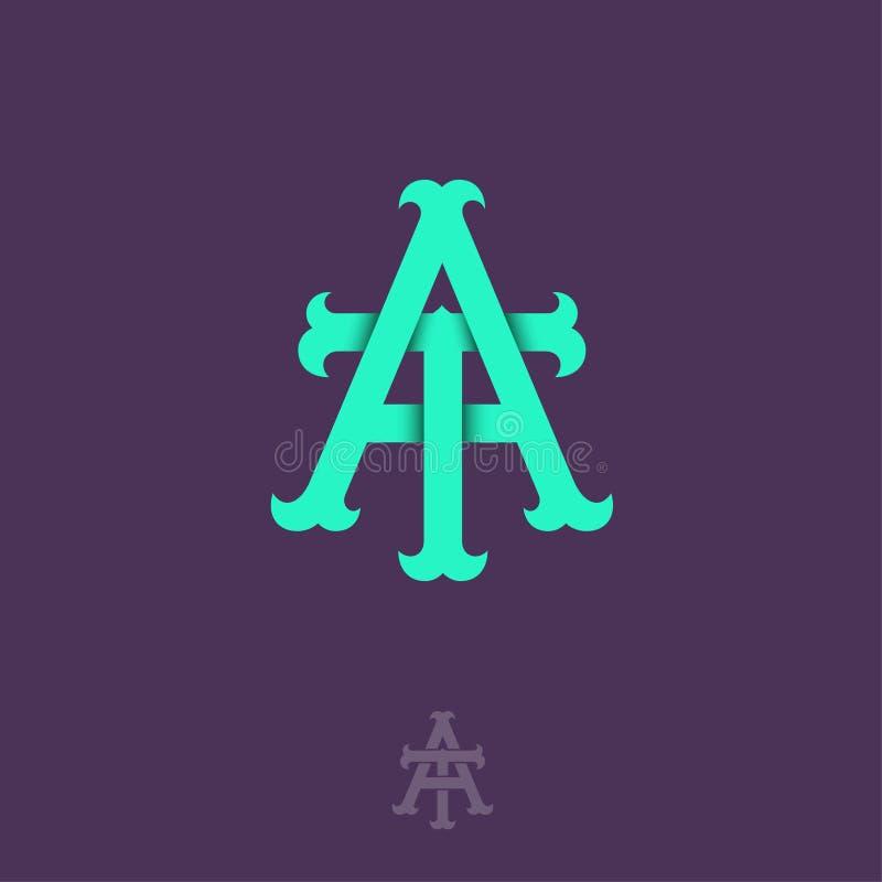 A- och T-monogram A och T korsade bokstäver, flätade samman bokstavsinitialer vektor illustrationer