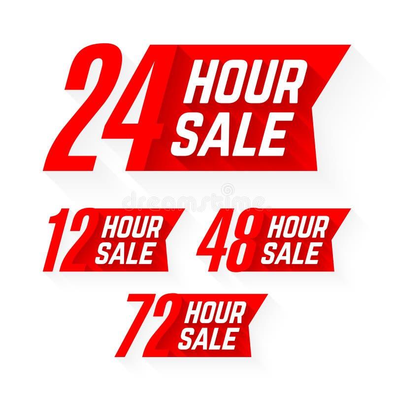 12, 24, 48 och 72 timme Sale etiketter royaltyfri illustrationer