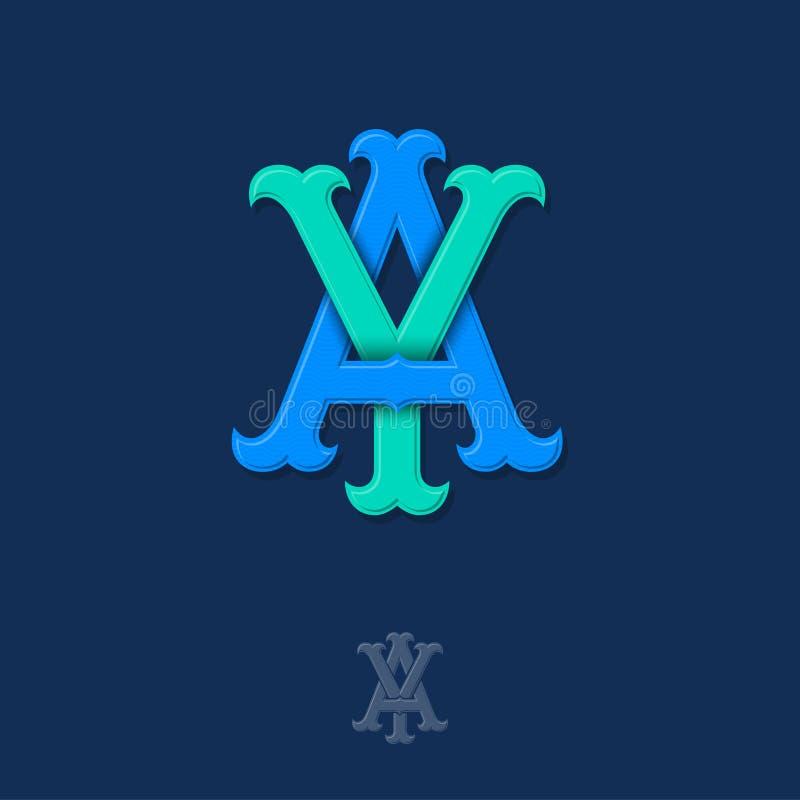 A- och y-monogram A och Y korsade bokstäver, flätade samman bokstavsinitialer stock illustrationer
